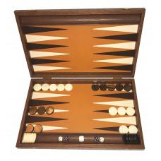 Backgammon i trä och ljusbrun skinn Grambousa L