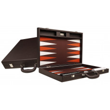 Silverman & Co Premium L Backgammon set in Dark Brown