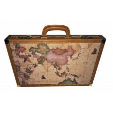 Backgammonspel i läder L Världskarta på sidorna
