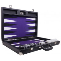 Backgammon Set XL Wycliffe Brothers Masters Black Linen-leather Case Purple Field