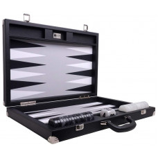 Backgammon-set XL Wycliffe Brothers Masters Väska i svart linne-skinn, grått fält