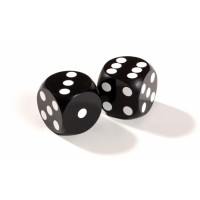 Official  backgammon precision Dice 13 mm Black