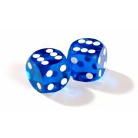 Officiella backgammon precisionstärningar 13 mm blåa