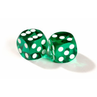 Official backgammon precision dice 13 mm Green