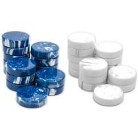 Backgammon-pjäser 50 mm av naturharts i blått & vitt
