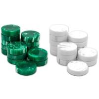 Backgammon-pjäser 50 mm av naturharts i grönt & vitt