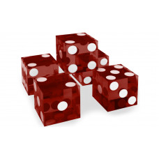 Casino Precision Dice Serial Numbered Set of 5 in Red