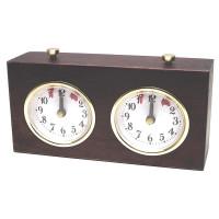 Schackklocka BHB, mekanisk ur i brunt trä
