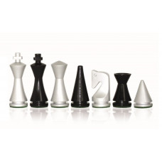 Modern Chessmen Glossy Silver KH 75 mm